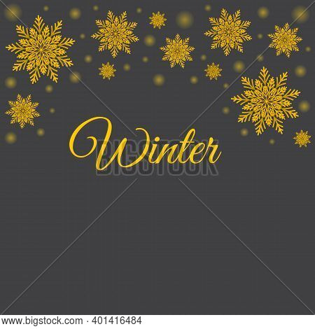 Winter Grey Background With Golden Volumetric Snowflakes And Glowing Dots. Vector Modern Design Of H