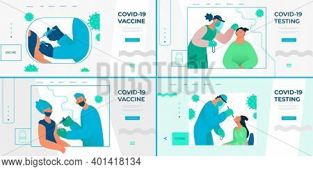 Set Of Illustrations For Landing Page, Banners On Covid-19 Testing And Vaccination. Nose Swab Probe,