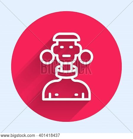 White Line African Tribe Male Icon Isolated With Long Shadow. Red Circle Button. Vector