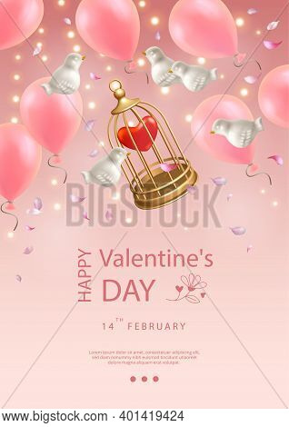 Valentines Day Poster. Creative Composition Of Flying White Porcelain Birds, Balloons, Petals And Bi