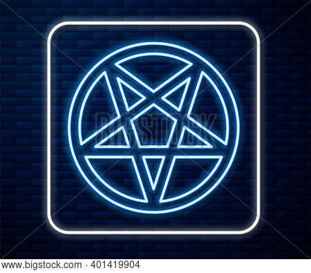 Glowing Neon Line Pentagram In A Circle Icon Isolated On Brick Wall Background. Magic Occult Star Sy