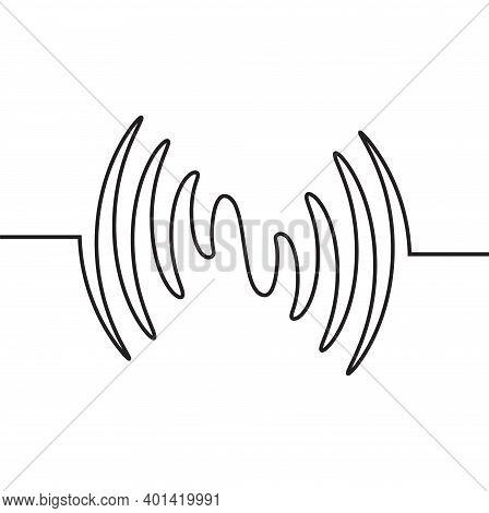 Audio Sound Wave Music Waveform. Pulse Audio Record Design Signal Line