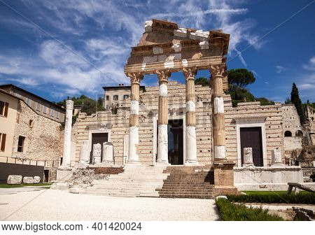 Capitolium (Temple of the Capitoline Triad), the main temple in Roman town of Brixia now Brescia, Lombardy, Northern Italy, part of the UNESCO world heritage Monumental area of the Roman forum
