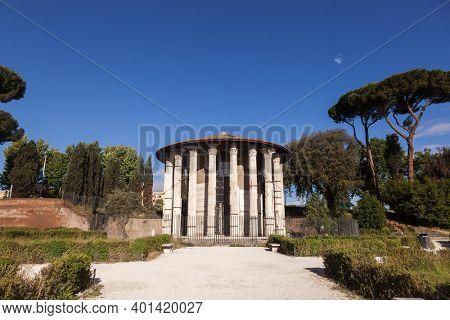 Temple of Hercules Victor (Hercules the Winner) or Hercules Olivarius at Forum Boarium, a cattle forum venalium of Ancient Rome near the Tiber River, Italy