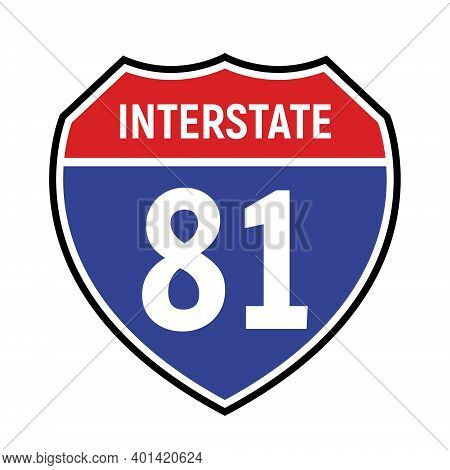 81 Route Sign Icon. Vector Road 81 Highway Interstate American Freeway Us California Route Symbol