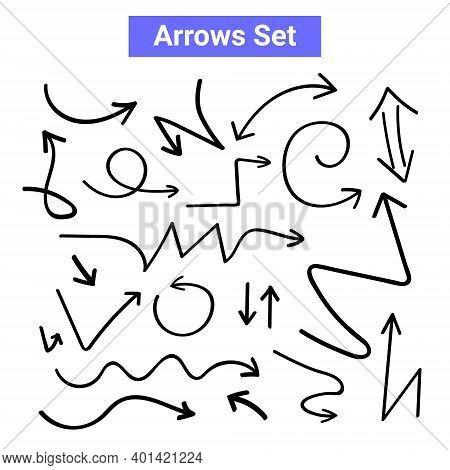Vector Arrow Handdrawn Curve Icon. Doodle Arrow Sketch Line Icon Set