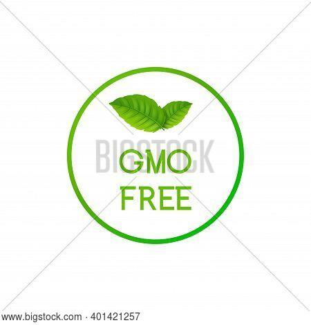 Gmo Free Icon Logo. Non Gmo Food Label Symbol. Organic Green Stamp Design Healthy Food With Leaf Sti