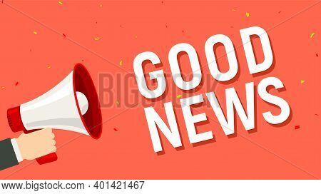 Good News Announce Megaphone Hand Holding Cartoon Attention. Great News Happy Announcement