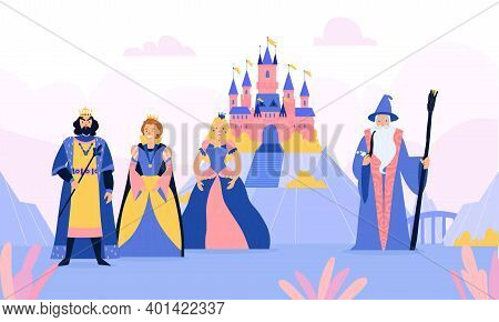 Fairy Tale Kingdom With Cartoon Characters Of Queen King Princess Colored Background Vector Illustra