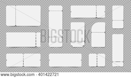 Set Of Realistic Empty Ticket Mockups On Transparent Background With Various Shapes And Tear Off Stu