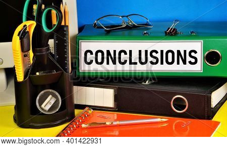 Conclusions. Text Label On The Registrar's Office Folder. Reasoning, Research Result, Inference And