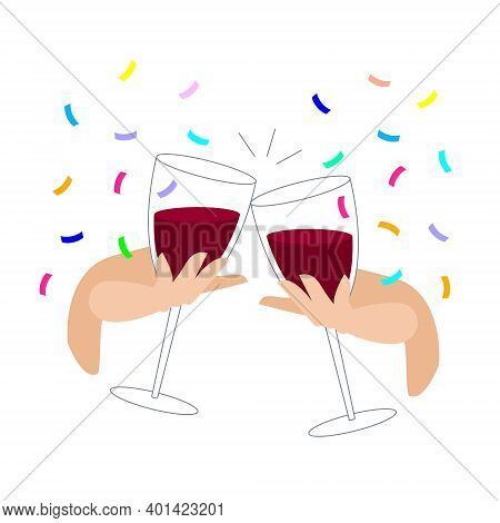 Clink Glasses With Red Wine And Confetti. Festive Feast With Alcoholic Drinks. Hand Holds A Glass Of