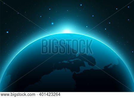 Solar Eclipse Planet Earth Space Horizon. Earth Planet World Vector Globe Eclipse