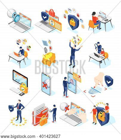 Personal Data Protection Gdpr Isometric Recolor Set Of Isolated Icons And Pictograms With Gadgets An