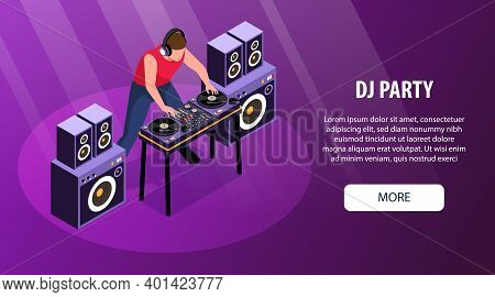 Isometric Dj Horizontal Banner With Editable Text More Button And Character Of Disk Jockey At Decks