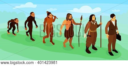 Men Career Evolution Isometric Horizontal Vector Illustration With Male Cartoon Characters Of Prehis
