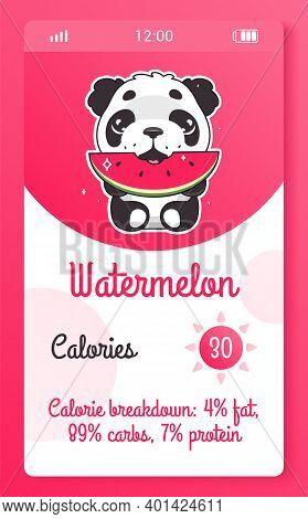 Calorie Counter Kids Mobile App Screen With Cartoon Kawaii Character. Food Tracker Smartphone Girlis
