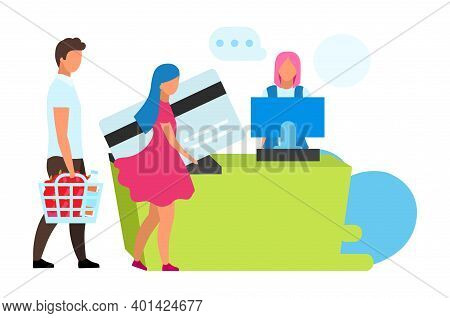 Family At Cash Desk Flat Vector Illustration. Couple And Cashier In Grocery Store Cartoon Characters