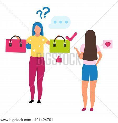 Girl Choosing Handbag Flat Vector Illustration. Shop Assistant Helping Consumer Make Decision Cartoo