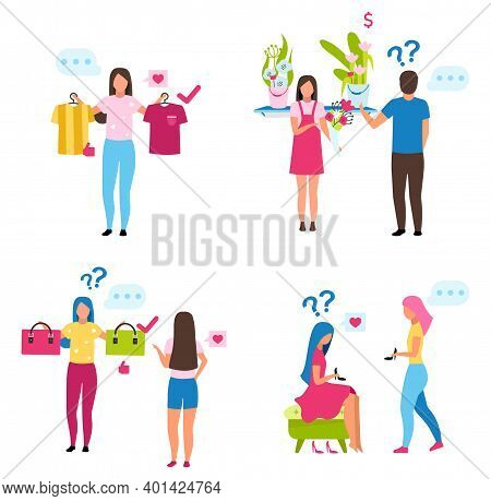 Buyers Choosing Goods Flat Vector Illustrations Set. Shop Assistant Showing Goods To Customers Carto