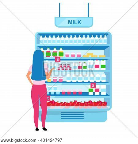 Girl Choosing Milk In Grocery Store Flat Vector Illustration. Woman Selecting Dairy Products In Supe