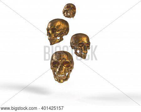 Antique Gold Skulls 3d Render In White Background