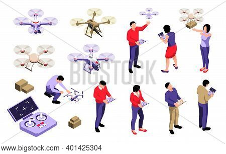 Isometric Drone Operator Set Of Isolated Human Characters With Remote Devices And Quadcopter Drones