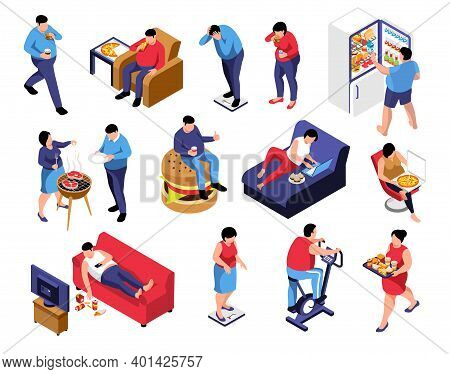 Isometric Obesity Unhealthy Diet Lifestyle Set Of Isolated Icons With Characters Of People Eating Ju