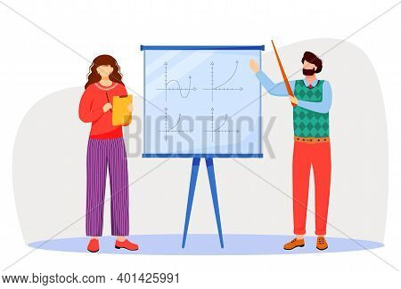 Teacher Explains Math Graphs On Whiteboard Flat Vector Illustration. Studying Process At University,
