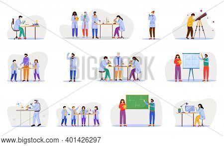 Practical Science Flat Vector Illustration Set. Chemistry In School. Activities For Children. Conduc