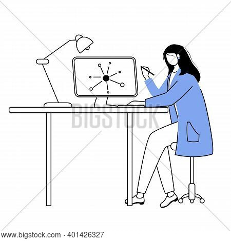 Scientist At Working Place Flat Contour Vector Illustration. Woman In Blue Lab Coat Simple Drawing.
