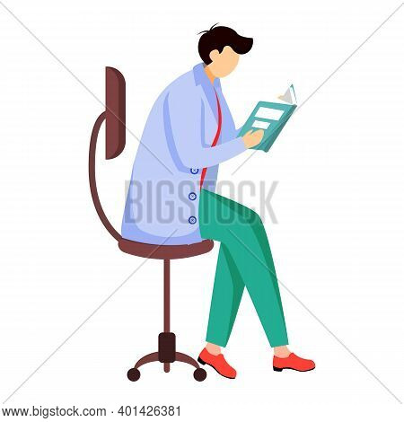 Scientist Reading Book, Journal Flat Vector Illustration. Doctor Sits On Chair. Getting, Analysing I