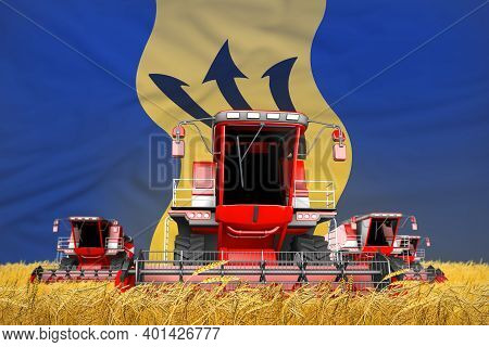 4 Bright Red Combine Harvesters On Rye Field With Flag Background, Barbados Agriculture Concept - In