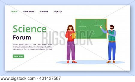 Science Forum Landing Page Vector Template. Solving Math Problems Website Interface Idea With Flat I