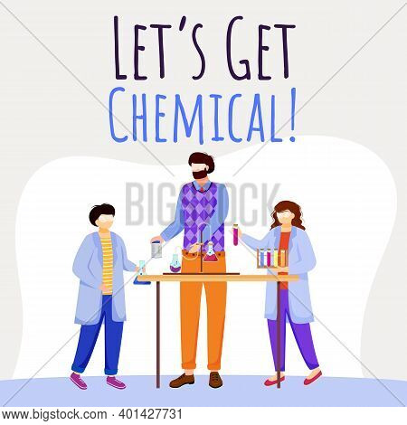 Lets Get Chemical Social Media Post Mockup. Children And Chemistry Experiments. Advertising Web Bann