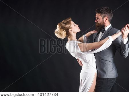 Ballroom Dance. Couple Dancing. Passion And Love Concept. Dancing, Salsa, Tangoing. Waltz. Couple In