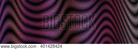 Dark Colored Psychedelic Abstract Horizontal Vector Banner With Wave Lines Blending And Moire Optica