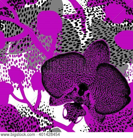 Exotic Motley Silhouettes Of Spotted Orchid Flowers In Purple Halftones On Textured Background. Orna