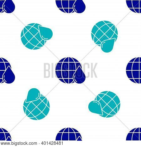 Blue Earth Planet In Water Drop Icon Isolated Seamless Pattern On White Background. World Globe. Sav