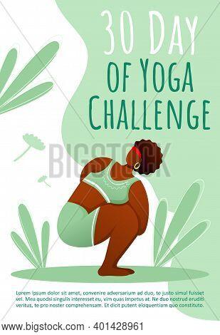 30 Day Of Yoga Challenge Brochure Template. Healthy Lifestyle. Bodypositive Yoga Flyer, Booklet, Lea