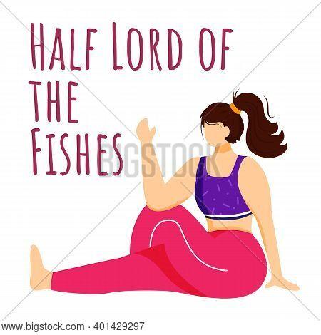 Half Lord Of Fishes Social Media Post Mockup. Ardha Matsyendrasana. Woman Doing Yoga. Web Banner Des