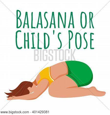 Balasana Social Media Post Mockup. Childs Pose. Caucausian Woman Doing Yoga Posture. Web Banner Desi