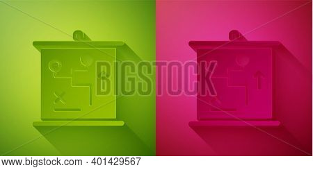 Paper Cut Planning Strategy Concept Icon Isolated On Green And Pink Background. Cup Formation And Ta