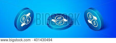 Isometric Cryptocurrency Exchange Icon Isolated On Blue Background. Bitcoin To Dollar Exchange Icon.