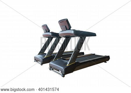 Electric Treadmill For Running Cardio Or Exercise For Home Or Fitness Gym Isolated On White Backgrou