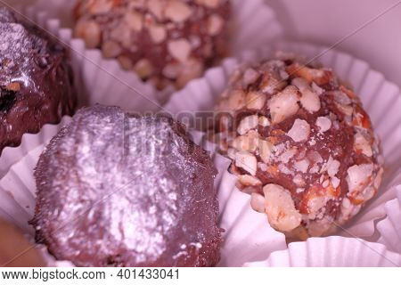 Macro Image Of Chocolate Candies In The Box.