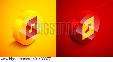 Isometric Music Book With Note Icon Isolated On Orange And Red Background. Music Sheet With Note Sta