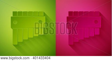 Paper Cut Pan Flute Icon Isolated On Green And Pink Background. Traditional Peruvian Musical Instrum