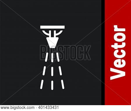 White Fire Sprinkler System Icon Isolated On Black Background. Sprinkler, Fire Extinguisher Solid Ic
