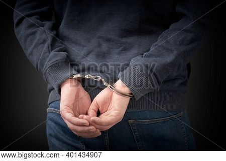 Criminal Handcuffed, Back View. Criminal Arrested, Security Concept
